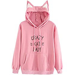 Milumia - Sudadera con capucha para mujer, diseño de orejas de gato, manga larga, color rosa