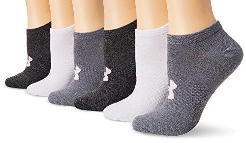 Under Armour Women's Essential No Show Socks (6 Pack), Graphite Marl/Assorted, Medium
