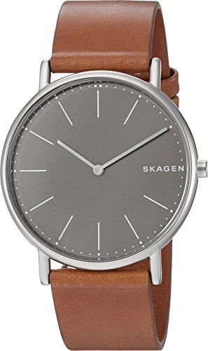 Skagen Titanium Watch - Skagen Men's 'Signatur Slim' Quartz Titanium and Leather Casual Watch, Color:Brown (Model: SKW6429)