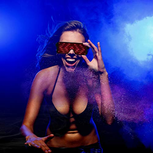 LED Glasses Grow Party Favor, Light Up Glasses with Display Pattern, 8 Pattern Optional, USB Charging Glasses for Nightclub, Christmas, Birthday Party ()