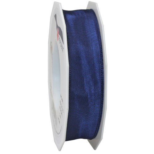 Morex Ribbon French Wired Lyon Ribbon, 1-Inch by 27-Yard Spool, Navy Blue