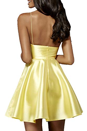 Dress White Satin Pockets Straps Homecoming Spaghetti V Jazylynbride A line Short Neck q4Pz4v