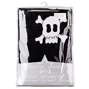 Metallic Cowboy Single Bed Sheet Set Boy Skull Design