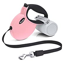 Pawaboo Dog Leash, 3M / 9.8 FT Puppy Pet Dog Cat Automatic Retractable Dog Leash Traction Rope, with Detachable Waste Bag Dispenser, Break Button with Lock, Small Size, Pink