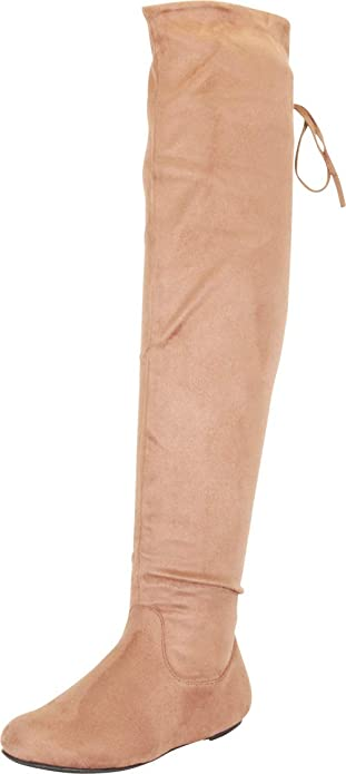 Cambridge Select Womens Drawstring Tie Thigh-High Flat Over The Knee Boot