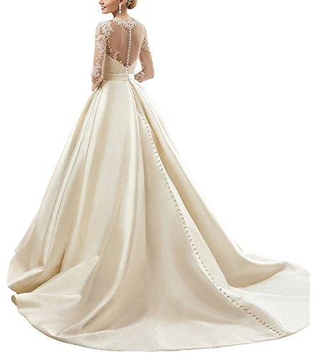Bellezza Lunghe Color Sposa La Con Fiori Da Sposa Delle Abiti Per Maniche Lunghi Avorio Donne rw1r7pxHq