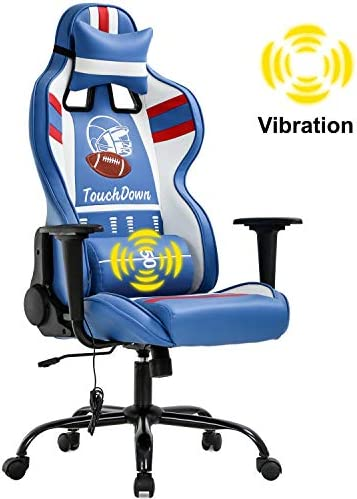 Gaming Chair Massage Office Chair Racing Computer Chair with Lumbar Support Headrest Armrest Task Rolling Swivel Ergonomic PU Leather High Back Adjustable Desk Chair for Adults Gamer Blue