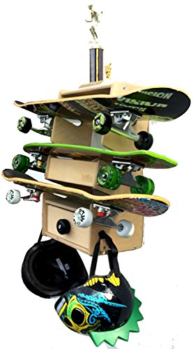 Sk8Rak 3 Board Skateboard Rack - Beautifully Designed and Crafted in the USA - 3,4, and 6-Board Racks for Regular and Longboards - Wall-Mounted or Free-Standing (Furniture Wood Diego San Outdoor)