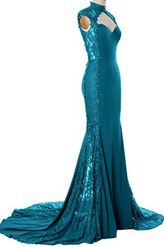 Formal Jersey Lace Neck Mermaid Gown Dress Evening Women MACloth Teal High Prom Long qAq4z