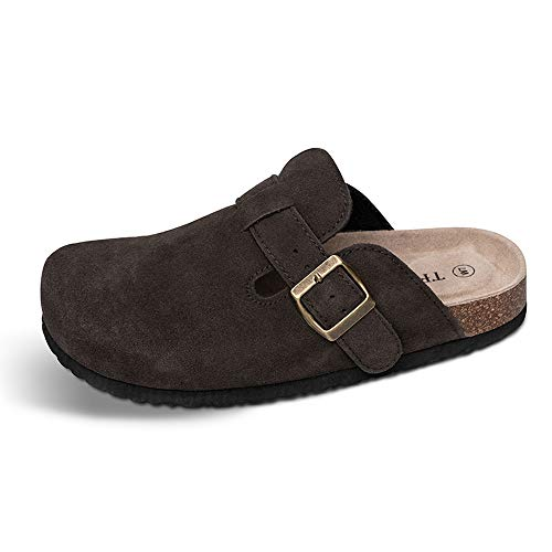 n Soft Footbed Clog Cow Suede Leather Clogs, Cork Clogs Shoes for Women Men Brown ()