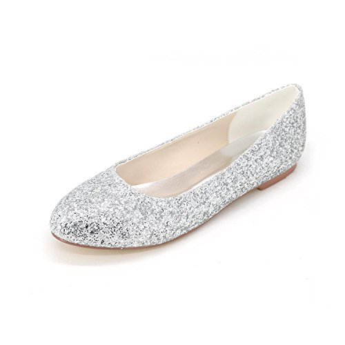 Flat Shoes Satin Wedding Shoes Comfortable L amp; Leather Women'S Big YC Size Evening Dance Silver OwxqEB
