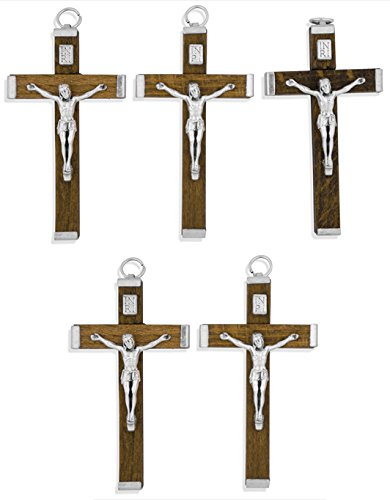 Traditional Wood Crucifix Pendant for Necklace or Rosary Use - 5 Pack (Rosary Wood Crucifix)