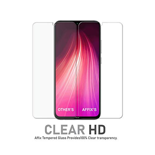 Affix Premium Tempered Glass for Xiaomi Mi Redmi Note 8, Mi Redmi 8 with Easy Installation Kit (Transparent) – Pack of 2