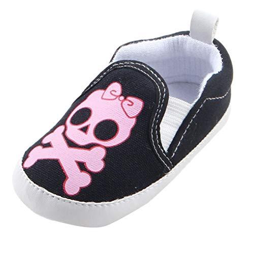 Fiaya Halloween Baby Boys Girls Cartoon Skull Print Canvas Slip On Sneakers Casual Shoes | NB-18M (Pink, 0-6 Months)