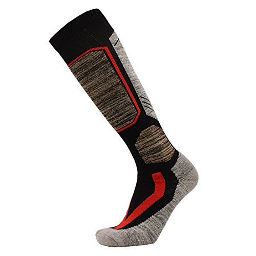 Ski Socks,Knee-High Warm Skiing Socks for Men High Performance Snowboard Socks,Padded Protection,Size US 9-12
