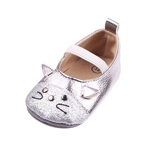 IGEMY Neugeborenes Baby Prinzessin Sneaker Mädchen Cartoon Katze Muster Mode Anti-Rutsch Schuhe Silber