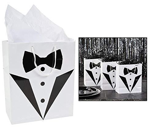 (Cool Fun 3-8805 PaPer Medium Tuxedo Wedding Gift Bag - 12)