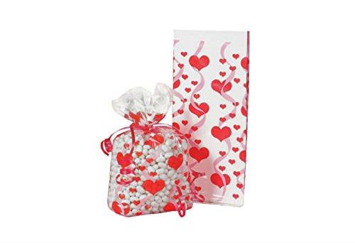 24 VALENTINE'S DAY Party CELLO Cellophane Goody Treat HEART PRINT ()