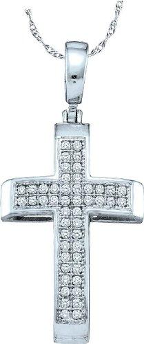 10 k Or Blanc Pendentif Croix Diamant 0,14 Dwt or de haute qualité Or 9 Carats JewelryWeb