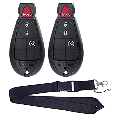 JalopyTrade Pair New Remote for 2009-2012 Dodge RAM 1500 2500 3500 Pickup Remote Start KEYLESS Remote Key FOB FOBIK + ONE Free Lanyard (2-DO-BL-LY): Automotive