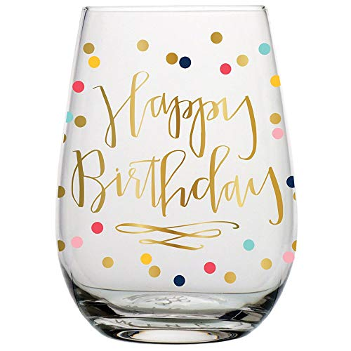 Birthday Wine Glass - 20 oz Happy Birthday Stemless Wine Glass (Multicolor Confetti, Perfect Birthday Gift) ()