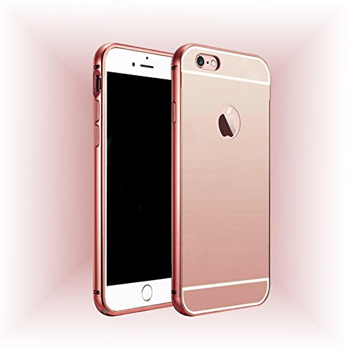 Luxus Metall Spiegel Bumper für Apple iPhone 7 in Pink Aluminium Cover Schutz Hülle Case
