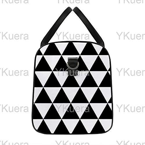 ブラックホワイトトライアングル1 旅行バッグナイロンハンドバッグ大容量軽量多機能荷物ポーチフィットネスバッグユニセックス旅行ビジネス通勤旅行スーツケースポーチ収納バッグ