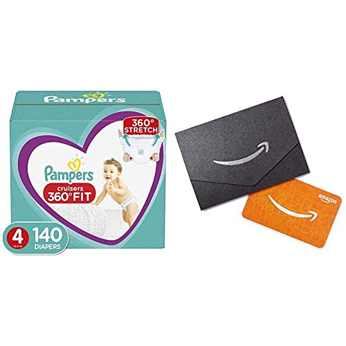 2 Packs of Diapers Size 4, 140 Count – Pampers Pull On Cruisers 360˚ Fit Disposable Baby Diapers with Stretchy Waistband with Amazon.com Gift Card