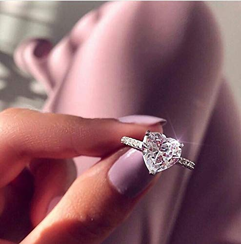 Cutedoumiao 925 Silver Love Heart Perfect Cutting 3ct CZ Engagement Rings for Women Cubic Zirconia Promise Halo Engagement Ring Solitaire Engagement Ring (10)
