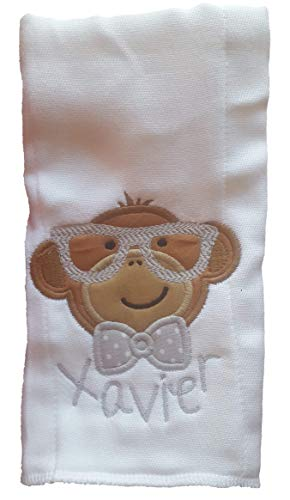 Monkey Serie - Burp Cloth for Baby Gifts, 100% Organic Cotton, Embroidered with Personalize Name by We Made It For U