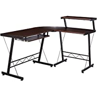BHG L Shape Computer Desk with Slide-out Keyboard, Brown with Black Frame