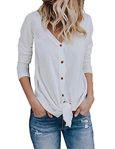 VYNCS Women's Casual Button Down Front Knot Knit Sweaters Shirts Henley Long Sleeve V Neck Tunic Blouse Tops (White, Large)