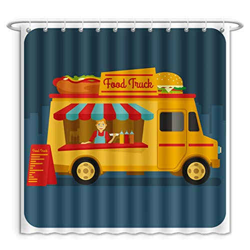 Unique Custom Shower Curtains A Food Truck Selling Street Food In The Down Town Polyester Fabric Shower Curtain For Bathroom, 55 x 72 Inches