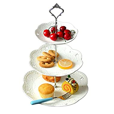 Jusalpha 3-tier Porcelain Cake Stand Dessert Stand-Cupcake Stand-Tea Party Serving Platter (3RW Silver)