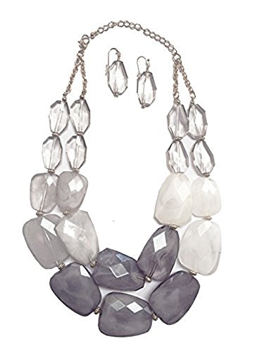 Secret for Longevity Multi Strand Grey Frosted White Silver Gray Colored Resin Big Chunky Statement Necklace (Faceted Crystal Necklace Earrings)