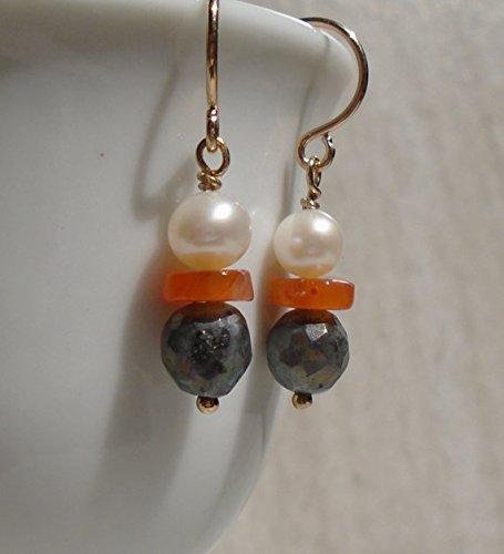 Carnelian Earrings, Labradorite Earrings, Freshwater Pearl Earrings, Geometric Earrings, Modern Earrings, dangling earrings, Minimalistic 4~5 mm