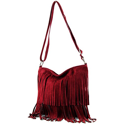 Ital. Borsa a tracolla in pelle Frans borsa tracolla donna borsa in pelle scamosciata T125, Präzise Farbe (nur Farbe):Brokatrot