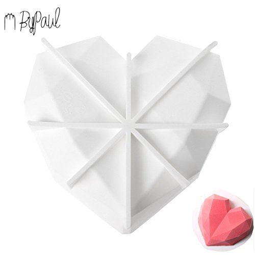 ByPaul Upgraded 3rd Gen Diamond Heart Love Silicone Cake Mold with Exclusive secret recipe included: FDA certified Silicone Oven Safe Chocolate Mousse Dessert Baking Pan 3D nonstick 7 inch topping