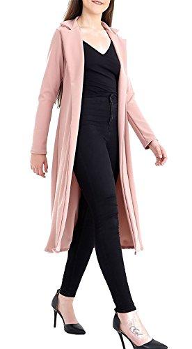 Lunghe A l Slinky Cappotto Donna Women Cascata Jacket S Spolverino Islander Rosa Fashions Da Maniche Maxi Colletto WYEeDH29I