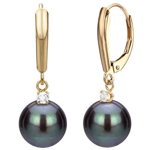 14k-Yellow-Gold-110cttw-diamond-Dyed-black-Freshwater-Cultured-High-Luster-Pearl-Lever-back-Earrings