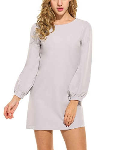 ACEVOG Women Casual Long Sleeve Solid Loose Cocktail Party A-Line Dress (Small, Gray)
