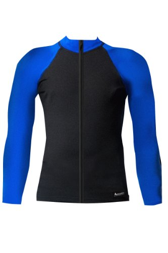 Aeroskin Nylon Long Sleeve Rash Guard with Color Accents and Front Zip (Black/Blue, Medium)