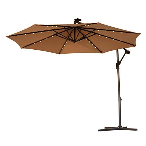Outsunny 10' Steel Outdoor Offset Tilt Patio Umbrella with Solar LED Lights (Latte/Light brown) (Paver Set)
