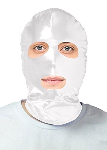 VSVO Adults White Open Eyes and Mouth Metallic Masks (Adults, White) (Scary Maska)