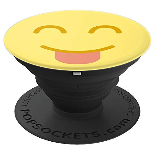 Smile Smiley Face tongue Emoji Pop Socket Fun Phone Gift - PopSockets Grip and Stand for Phones and Tablets