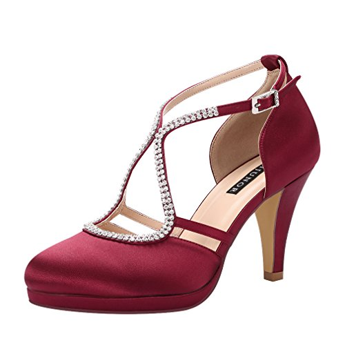 Womens Shoes Burgundy (ERIJUNOR E0260D Women Comfort Low Heel Closed-Toe Ankle Strap Platform Satin Bridal Wedding Shoes Burgundy Size 9)