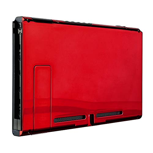 eXtremeRate Chrome Red Console Back Plate DIY Replacement Housing Shell Case for Nintendo Switch Console with Kickstand - JoyCon Shell NOT Included