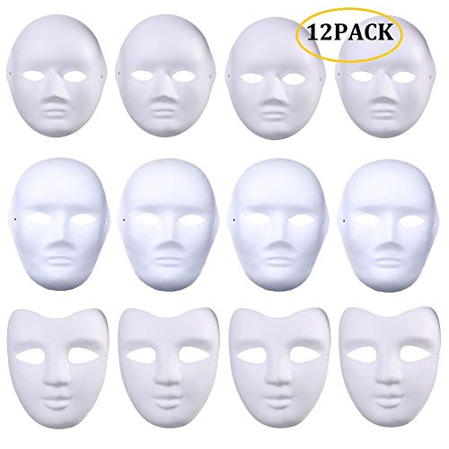 (CheeseandU White Masks, 12Pcs White DIY Paintable Full Face Fun Paper Cosplay Mask Scary Face for Halloween Costume School Craft Mardi Gras Dancing Party Masquerade Masks(Male&Female&V)