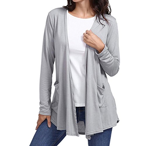 Vicbovo Clearance Sale! Women Casual Loose Open Front Cardigan Sweater Long Sleeve Solid Blouse Tops with Pocket (Gray, XL)