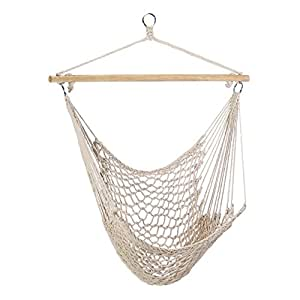 Gifts & Decor Cotton Rope Hammock Cradle Chair with Wood Stretcher